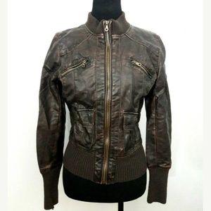 Xhilaration Size M Brown Bomber Moto Jacket (NL)